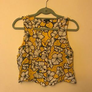 River Island Yellow Floral Print Crop Button Down
